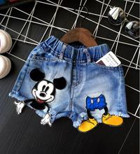 Baby girls shorts jeans mickey design summer children shorts kids denim shorts for girls clothes toddler girl clothing 2-7T