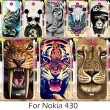 Akabeila Hard Plastic Phone Cases For Nokia Lumia 430 N430 4.0 inch Phone Cover Silicon DIY Painted Beer Panda Tiger Lion