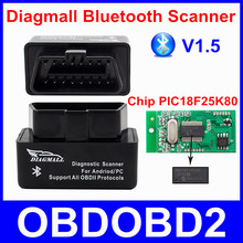 Super Mini Diagmall Bluetooth Scanner V1.5 With Chip PIC18F25K80 OBD2 Diagnostic Tool For All OBDII Protocols Better Than ELM327