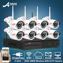 ANRAN P2P 8CH CCTV System Wireless NVR Kit 8pcs 1080P HD Outdoor IR Night Vision Security IP Camera WIFI Surveillance System