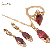Wholesale & Retail Latest Design  Gold Red zircon garnet Pendant/Ring/Earrings fashion Jewelry Set size 6 7 8 10 S101