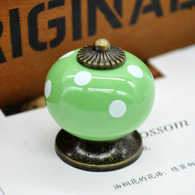 Ceramic Handle  Drawer Handle Polka Dot Print Single Hole Door Handle Furniture Hardware Handle Pumpkin Shape