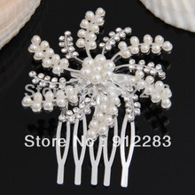 Free Shipping 10pcs Silver Plated Crystal simulated Pearl Bride Wedding Flower Tiara Hair Slide Comb Pin #50426