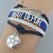 drop shipping charm love mar depor bracelet girl jewelry infinity white leather soccer ball bracelet gifts