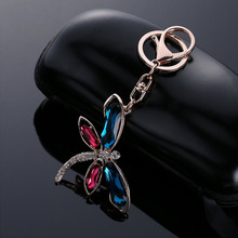 Cute Dragonfly Rhinestone Zinc Alloy Keychain Handbag Purse Car Buckle Pendant Keyring Fashion Jewelry Gift @C17