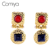 Comiya Square And Round Gold Stud Earrings With Simulated Pearl And Embedded Red And Blue Rhinestones Perfect For Women