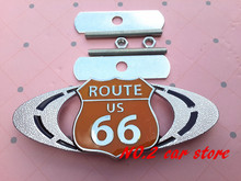 Free shipping High quality Route 66 US logo 3D Chrome Metal car grill emblem Front Grille badge auto accessories