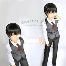 cool fashion Tokyo Ghoul  Kaneki Ken cafe waiter uniform cosplay anime full set uniform 4 in 1 shirt+ waistcoat+ pants+ apron