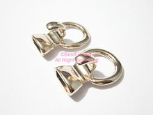 Light rose gold Open hook clasp 10x5mm Round leather clasp(China)