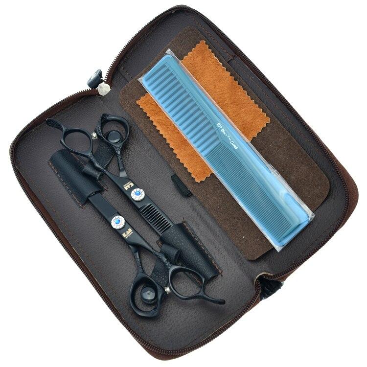 6Inch Kasho Dragon Handle Black Paint Cutting Scissors and Thinning Scissors Kits,Human Hair Scissors with Diamond,1set LZS0189<br>