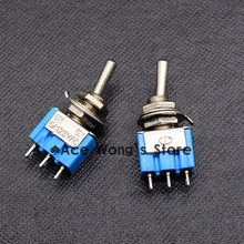 10PCS Blue Mini MTS-102 SPDT 3Pin 6A 125VAC 2 Position On-on Toggle Switches 3.3*1.3*0.8cm SPDT 6A 125V AC/3A 250V AC(China)