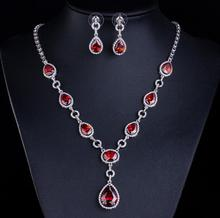 Vintage Joya Rubi Wedding Natural Red Stone Jewelry Sets Collier Rouge Bridal Big Indian White Gold Necklace Earrings Jewellery