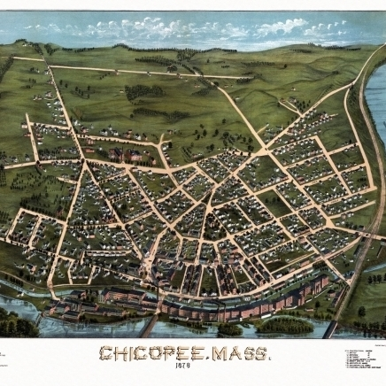 Historic Map of Chicopee Massachusetts 1878 Hampden County Poster Print (36 x 54)