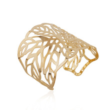 MANWII Gold-color Hollow Out Leaves Bangles for Women Fashion Personality Hyperbole Wide Bracelet Party Jewelry AF1630