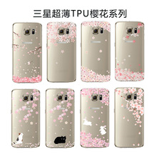 Spring Pink Cherry Tree Phone Cases For Samsung Galaxy S6 S6edge S6edge Plus S7 S7edge TPU Clear Phone Bag  Shell Capinha Coque