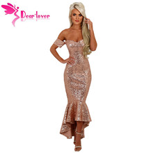 Dear Lover Formal Dresses Sexy Party Gown 2017 Champagne Off Shoulder Sequin Hi-lo Mermaid Dress Vestido de festa Longue LC61412