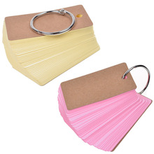 Binder Ring Easy Flip Flash Cards Study Cards, 100 Unruled Blank Pages (Pink+Yellow)(China)