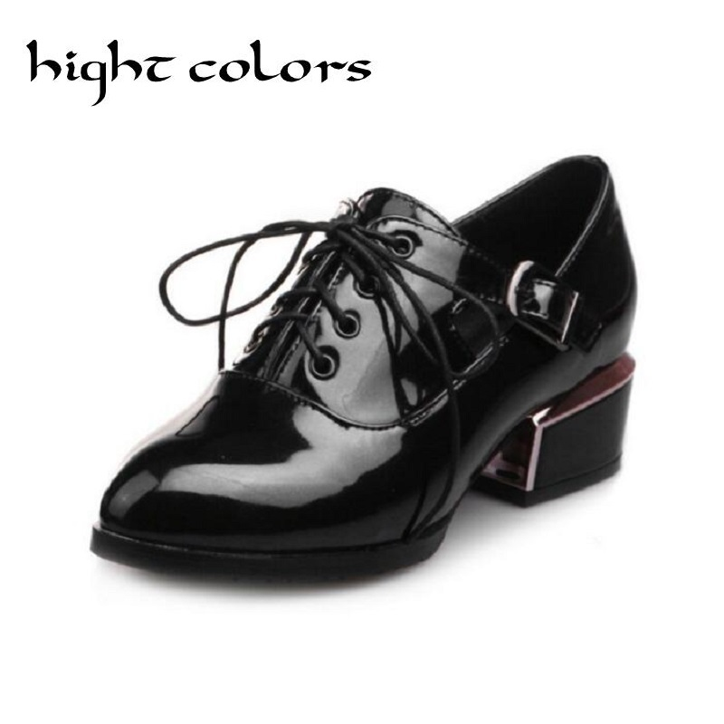 Mirror fashion pointed toe lacing medium hells shoes female patent leather gun soft square heel work oxfords shoes women pumps<br><br>Aliexpress