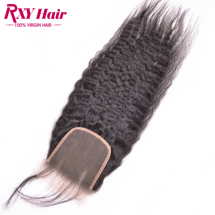Peruvian Hair Kinky Straight Closure 4x4 Remy Human Hair Top Lace Closure Coarse Yaki Free Middle 3 Part Lace Closures<br><br>Aliexpress
