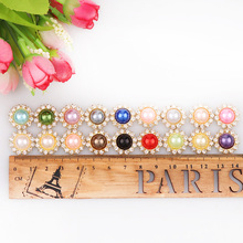 2017 New Mix Color 10mm Pearl Button Brass 16mm Gold Metal Round Tray Rhinestone Cabochon Base Cameo Setting DIY Jewelry Charms(China)