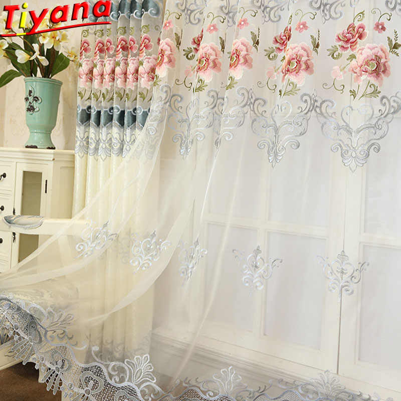 Drapes for Living Room Luxury Curtains with Embroidery for Bedroom Livingroom Window Voile Sheer Tulle Curtains M024#30
