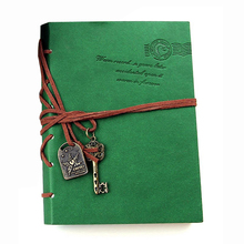 SOSW-Classic Retro Leather Bound Blank Pages Journal Diary Notepad Notebook Green 143*105*20mm.(China)
