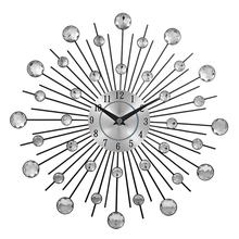 Vintage Metal Crystal Sunburst Wall Clock Luxury Diamond Large Morden Wall Clock Da Parete Clock Design Home Decor Wandklok(China)