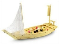 Free Shipping Japanese Restaurant Wooden Boat, 40cm Serving Tray/Plate for Seafood Sushi