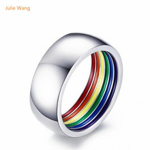 Julie Wang Wholesale Bright Silver Stainless Steel Men Personality Round Rainbow Ring Rings Gift Celebration Party Rings Lovers