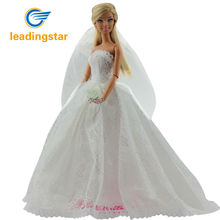 LeadingStar Doll Bridal Wedding Gown Embroidery Dress Veil White Clothes for barbie dolls accessories zk30(China)