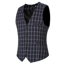 Men's Vest 2017 New Male Fashion Brand Banquet Men Classic Vest Checked Gilet Costume Homme Slim Fit Vest M-6XL Cotton Waistcoat(China)