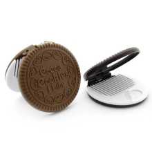 Fashion NEW Mini Mirror Women Cute Chocolate Cookie Shaped Makeup Mirror with 1 Comb Set Makeup Tool