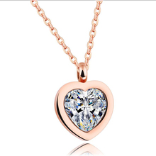 Bridesmaid Heart Pendant Rose Gold Stainless Steel Pendant Neckalce With High Quality Cubic Zirconia Heart Necklace For Women(China)