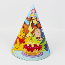 6pcs cartoon bear printing party Caps Hats Kids Birthday Party Decoration caps with string