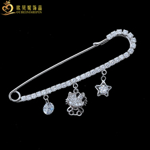 OBN Micro Pave CZ Pentagram Hello Kitty Safety Pin Brooch Collar Pins Crystal Sweater Suit Brooch Jewelry