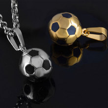 Sporty necklace football Pendant With Chain Stainless Steel Soccer Necklace Gold Color Men/Women Sport Ball Jewelry(China)