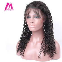 Maxglam Lace Wig For Black Women Full Lace Human Hair Wigs With Baby Hair Brazilian Deep Wave Remy Hair Free Shipping(China)
