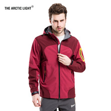 THE ARCTIC LIGHT Men Windproof Waterproof Soft shell Hiking Ski Jacket Outdoor Skiing Coat Camping Trekking Splice Color(China)