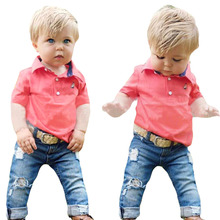 Free shipping ! 2016 New Boys summer suit  t-shirts and jeans  2pcs set children's Sport clothing