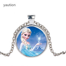 Hot Elsa Anna Pendant Necklace Cartoon Jewelry Girl Round Glasses Necklace Women Girls Gift For Kids silver necklace(China)