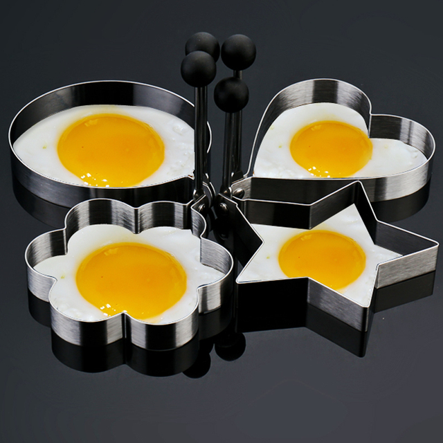 4pcs Set Stainless Steel Fried Egg Mold Pancake Ring Bluesky Heart Start Round Shaper Cooking
