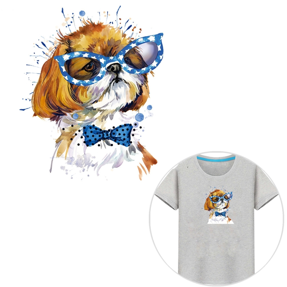 "New 7.7x9.1"" Cartoon Glasses Dog Patch Iron On Cloth T-shirt Dresses Patches A-level Washable Heat Transfer Stickers DIY thumbnail"