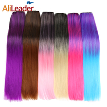 Alileader Hair For African American Hair Women Long Straight Hairpieces One Piece Full Head Clip In Hair Extensions 26 Colors(China)