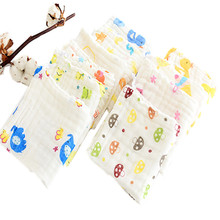 5Pcs 100% Cotton Gauze Newborn Baby Towel Set Kids Infant Cartoon Face Bathing Towel Feeding Bibs Square Towels Handkerchief(China)