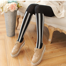 Buy NEW spring autumn winter women's tights fashion stockings cotton warm tights winter dress tights vertical stripes pantyhose