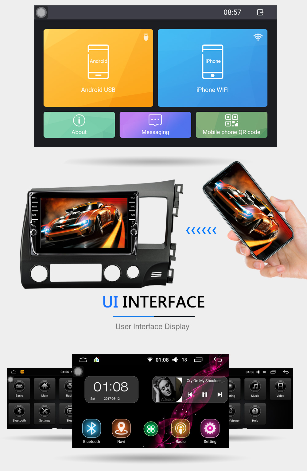 Deckless CAPACTIVE HD Screen Android 7.1 For honda CIVIC 2006 2011 Car DVD Navigation GPS HD FD Radio wifi obd2 MP3 player 2DIN