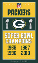 Green bay packers Super Bowl Champions Flag 3x5 FT 150X90CM NFL Banner 100D Polyester Custom flag grommets 6038, free shipping(China)