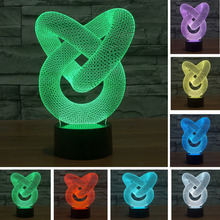 Double Ring 3D night light visual creative dynamic alternating LED luminous small table bedroom cafe lamp birthday holiday gifts