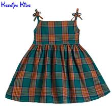 Kseniya Kids 2017 Summer Dress For Baby Girls Clothes Slip Dresses For Girls Birthday Party Size 2-8y Scotland Style Plaid Dress(China)