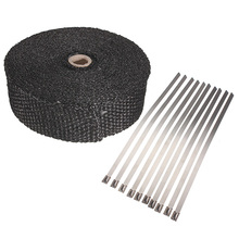 2inch x5m High Exhaust Pipe Header Heat Wrap Resistant Downpipe 10 Stainless Steel Ties 5mx5cmx2mm(China)